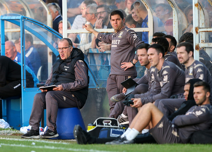 Leeds United manager Marcelo Bielsa watches on from the dug out<br /> <br /> Photographer Alex Dodd/CameraSport<br /> <br /> Football Pre-Season Friendly - Guiseley v Leeds United - Thursday July 11th 2019 - Nethermoor Park - Guiseley<br /> <br /> World Copyright © 2019 CameraSport. All rights reserved. 43 Linden Ave. Countesthorpe. Leicester. England. LE8 5PG - Tel: +44 (0) 116 277 4147 - admin@camerasport.com - www.camerasport.com