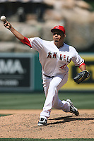 05/06/12 Anaheim, CA: Los Angeles Angels relief pitcher Ernesto Frieri #49 during an MLB game against the Toronto Blue Jays played at Angel stadium. The Angels defeated the Blue Jays 4-3
