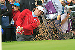 Bubba Watson chips out of a bunker onto the 18th green in the Session 3 Foursomes and Fourball Matches during Day 3 of the The 2010 Ryder Cup at the Celtic Manor, Newport, Wales, 3rd October 2010..(Picture Eoin Clarke/www.golffile.ie)
