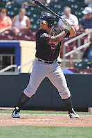 Nashville Sounds Bruce Maxwell (36) bats during the Pacific Coast League game against the Omaha Storm Chasers at Werner Park on June 5, 2016 in Omaha, Nebraska.  Omaha won 6-4.  (Dennis Hubbard/Four Seam Images)