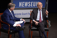 "Washington, DC - February 25, 2016: U.S. Supreme Court Associate Justice Stephen G. Breyer (r) discusses the Court and his new book ""The Court and the World: American Law and the New Global Realities,"" during a discussion at the Newseum in the District of Columbia, February 25, 2016, held in conjunction with the Supreme Court Fellows Program. The event was moderated by NBC News correspondent Pete Williams.  (Photo by Don Baxter/Media Images International)"