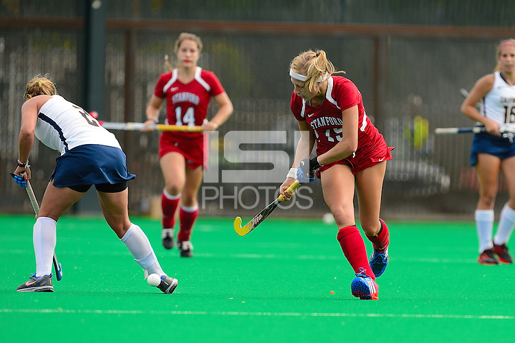 STANFORD, CA - SEPTEMBER 20, 2013: Stanford Field Hockey faces Cal in a game contested at Varsity Turf on the campus of Stanford University.  Stanford won, 3-0.