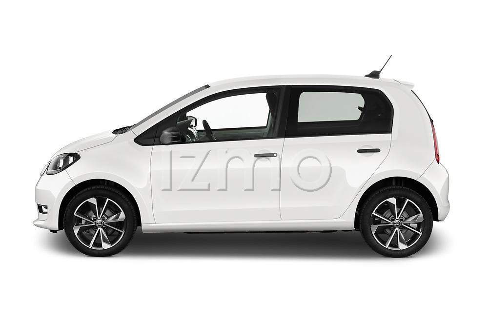 Car driver side profile view of a 2020 Skoda Citigo e iV Ambition 5 Door Hatchback