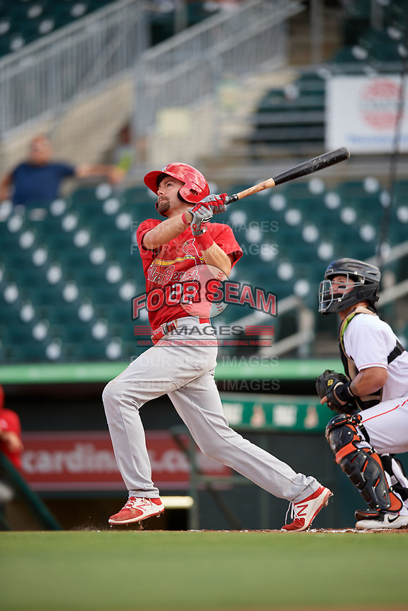 Palm Beach Cardinals first baseman Stefan Trosclair (22) follows through on a swing during a game against the Jupiter Hammerheads on August 4, 2018 at Roger Dean Chevrolet Stadium in Jupiter, Florida.  Palm Beach defeated Jupiter 7-6.  (Mike Janes/Four Seam Images)