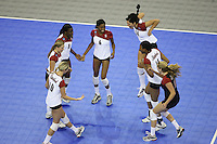 14 December 2006: Stanford Cardinal Kristin Richards, Bryn Kehoe, Nji Nnamani, Franci Girard, Cynthia Barboza, Foluke Akinradewo, and Jessica Fishburn during Stanford's 30-12, 30-25, 30-15 win against the Washington Huskies in the 2006 NCAA Division I Women's Volleyball Final Four semifinal match at the Qwest Center in Omaha, NE.