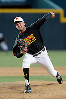 Starting pitcher Jake Drossner (23) of the Maryland Terrapins in an NCAA Division I Baseball Regional Tournament game against the South Carolina Gamecocks on Sunday, June 1, 2014, at Carolina Stadium in Columbia, South Carolina. Maryland won, 10-1, to win the tournament. (Tom Priddy/Four Seam Images)