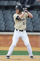 Jonathan Pryor (11) of the Wake Forest Demon Deacons at bat against the Georgia Tech Yellow Jackets at David F. Couch Ballpark on March 26, 2017 in  Winston-Salem, North Carolina.  The Demon Deacons defeated the Yellow Jackets 8-4.  (Brian Westerholt/Four Seam Images)
