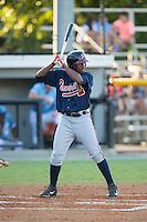 Ronald Acuna (11) of the Danville Braves at bat against the Burlington Royals at Burlington Athletic Park on August 13, 2015 in Burlington, North Carolina.  The Braves defeated the Royals 6-3. (Brian Westerholt/Four Seam Images)