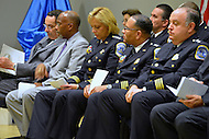 September 28, 2012  (Washington, DC)    Mayor Vincent Gray (far left), Paul Quander, Deputy Mayor for Public Safety; and MPD Chief of Police Cathy Lanier attend a Metropolitan Police Department (MPD) recruit graduation ceremony on September 28, 2012. (Photo by Don Baxter/Media Images International)
