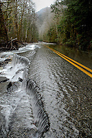 Washed out road above Index, Washington. This stretch was completely reclaimed and rendered impassible when the Skykomish River shifted its course during a flood.