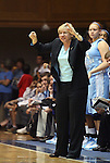 06 February 2012: UNC head coach Sylvia Hatchell yells instructions to her team. The Duke University Blue Devils played the University of North Carolina Tar Heels at Cameron Indoor Stadium in Durham, North Carolina in an NCAA Division I Women's basketball game.