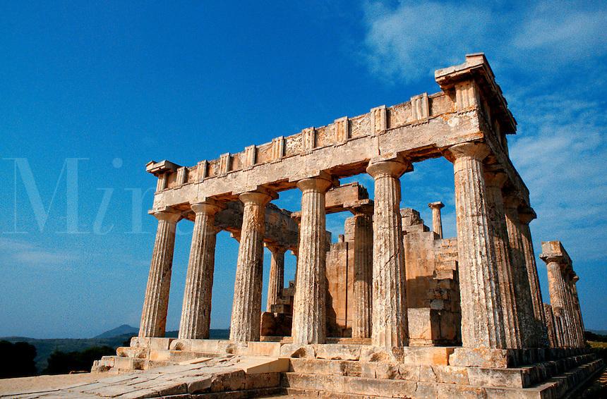 .The Temple of Aphaia, island of Aegina, Greece...