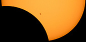 The International Space Station, with a crew of six onboard, is seen in silhouette as it transits the Sun at roughly five miles per second during a partial solar eclipse, Monday, Aug. 21, 2017 from Ross Lake, Northern Cascades National Park, Washington.  Onboard as part of Expedition 52 are: NASA astronauts Peggy Whitson, Jack Fischer, and Randy Bresnik; Russian cosmonauts Fyodor Yurchikhin and Sergey Ryazanskiy; and ESA (European Space Agency) astronaut Paolo Nespoli. A total solar eclipse swept across a narrow portion of the contiguous United States from Lincoln Beach, Oregon to Charleston, South Carolina. A partial solar eclipse was visible across the entire North American continent along with parts of South America, Africa, and Europe.  <br /> Mandatory Credit: Bill Ingalls / NASA via CNP