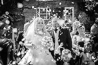 Black and White Photo, Wedding Confetti Celebration
