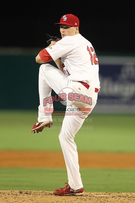 Palm Beach Cardinals pitcher Chase Reid #12 during a game against the Fort Myers Miracle at Roger Dean Stadium on May 2, 2012 in Jupiter, Florida.  Fort Myers defeated Palm Beach 2-1.  (Mike Janes/Four Seam Images)