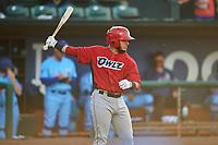 Jeans Flores (13) of the Orem Owlz bats against the Ogden Raptors at Lindquist Field on June 20, 2019 in Ogden, Utah. The Owlz defeated the Raptors 11-8. (Stephen Smith/Four Seam Images)