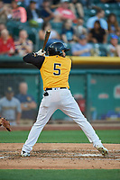 Sherman Johnson (5) of the Salt Lake Bees bats against the New Orleans Baby Cakes at Smith's Ballpark on June 11, 2018 in Salt Lake City, Utah. New Orleans defeated Salt Lake 6-5.  (Stephen Smith/Four Seam Images)