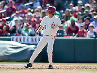 NWA Democrat-Gazette/CHARLIE KAIJO Arkansas Razorbacks infielder Jacob Nesbit (5) runs during a baseball game, Sunday, March 17, 2019 at Baum-Walker Stadium in Fayetteville.