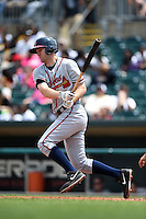 Mississippi Braves third baseman Joe Leonard (25) at bat during a game against the Montgomery Biscuits on April 22, 2014 at Riverwalk Stadium in Montgomery, Alabama.  Mississippi defeated Montgomery 6-2.  (Mike Janes/Four Seam Images)