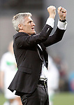 Olympique Lyonnais's coach Gerard Precheur celebrates the victory in the UEFA Women's Champions League 2015/2016 Final match.May 26,2016. (ALTERPHOTOS/Acero)