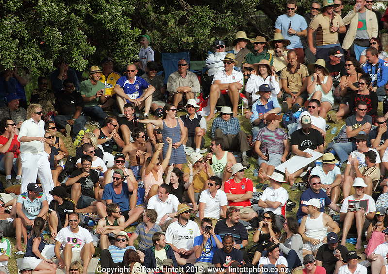 Fans on the embankment during day three of the 2nd cricket test match between the New Zealand Black Caps and England at the Hawkins Basin Reserve, Wellington, New Zealand on Saturday, 16 March 2013. Photo: Dave Lintott / lintottphoto.co.nz
