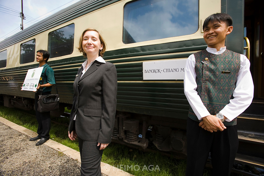 Eastern & Oriental Express. River Kwai Bridge Station. Stewards welcoming back passengers. Train Manager Evelyn Kocsis.