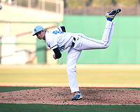 NWA Democrat-Gazette/J.T. WAMPLER  Springdale Har-Ber's Blake Benson delivers a pitch against Rogers Monday March 12, 2018 at Arvest Ballpark in Springdale. Rogers beat the Wildcats 1-0.