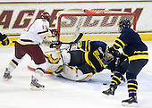 Brian Gibbons (BC - 17), Andrew Brathwaite (Merrimack - 33), Pat Bowen (Merrimack - 4) - The Boston College Eagles defeated the Merrimack College Warriors 7-0 on Tuesday, February 23, 2010 at Conte Forum in Chestnut Hill, Massachusetts.