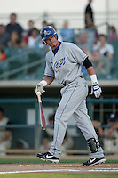 Jared Abruzzo of the Rancho Cucamonga Quakes bats against a 2004 season California League game at The Hanger in Lancaster, California. (Larry Goren/Four Seam Images)