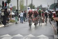 J&uuml;rgen Roelandts (BEL/Lotto-Belisol) &amp; Tony Gallopin (FRA/Lotto-Belisol) escort Jurgen Van den Broeck (BEL/Lotto-Belisol) back into a descent position so he stays in the battle for a good overall<br /> <br /> 2014 Tour de France<br /> stage 5: Ypres/Ieper (BEL) - Arenberg Porte du Hainaut (155km)