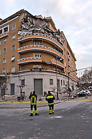 Rome, Italy. 22th January 2016<br /> Fire fighters  at work on the site where an appartment building collapsed. People were evacuated after a resident heard strange noises and raised the alarm before the building collapsed. There is no victims and an investigation is under way.