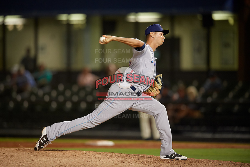 Jacksonville Jumbo Shrimp relief pitcher Jordan Milbrath (39) during a Southern League game against the Mobile BayBears on May 7, 2019 at Hank Aaron Stadium in Mobile, Alabama.  Mobile defeated Jacksonville 2-0.  (Mike Janes/Four Seam Images)