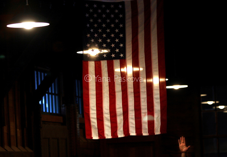 U.S. Presidential hopeful Sen. Barack Obama (D-IL) speaks to a crowd gathered in Chariton, IA, on Nov. 08, 2007.