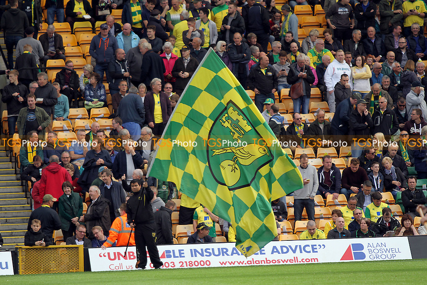 Norwich fans behind a large flag during Norwich City vs Rotherham United, Sky Bet EFL Championship Football at Carrow Road on 15th October 2016