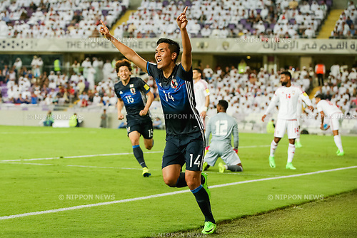 Yuya Kubo (JPN), MARCH 23, 2017 - Football / Soccer : Yuya Kubo of Japan celebrates as he scores a goal to make it 0-1 during the FIFA World Cup Russia 2018 Asian Qualifier Group B match between United Arab Emirates and Japan at Hazza Bin Zayed Stadium in Al Ain, United Arab Emirates. (Photo by AFLO)