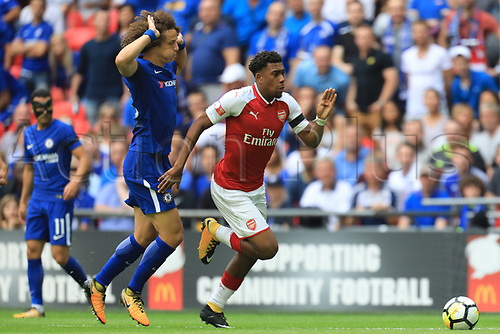 August 6th 2017, Wembley Stadium, London, England; FA Community Shield Final; Arsenal versus Chelsea; Danny Welbeck of Arsenal gets past David Luiz of Chelsea