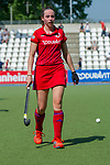 GER - Mannheim, Germany, May 05: During the women field hockey 1. Bundesliga match between Mannheimer HC (red) and Uhlenhorster HC Hamburg (light blue) on May 5, 2018 at Am Neckarkanal in Mannheim, Germany. Final score 1-3. (Photo by Dirk Markgraf / www.265-images.com) *** Local caption *** Maxi Pohl #6 of Mannheimer HC