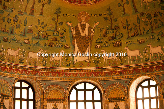 Detail of the mosaics in the Basilica of Sant'Apollinare in Classe just outside of in Ravenna, Italy.