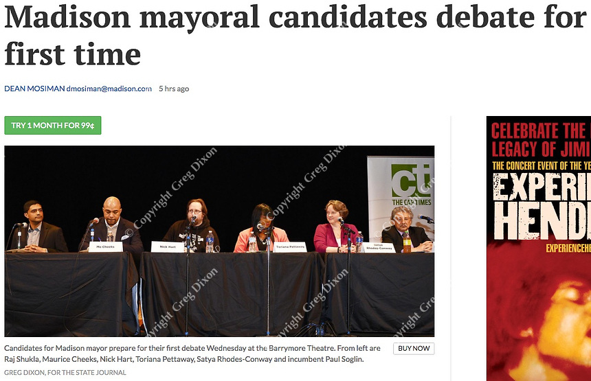 Candidates prepare for first mayoral debate of the 2019 election at the Barrymore Theater on Wednesday, 1/9/19, in Madison, Wisconsin, from left: Raj Shukla, Mo Cheeks, Nick Hart, Toriana Pettaway, Satya Rhodes-Conway, and Paul Soglin | Wisconsin State Journal article front page 1/9/19 and online at https://madison.com/wsj/news/local/govt-and-politics/madison-mayoral-candidates-debate-for-first-time/article_a113258c-c24f-512a-ba3c-a9870d135963.html