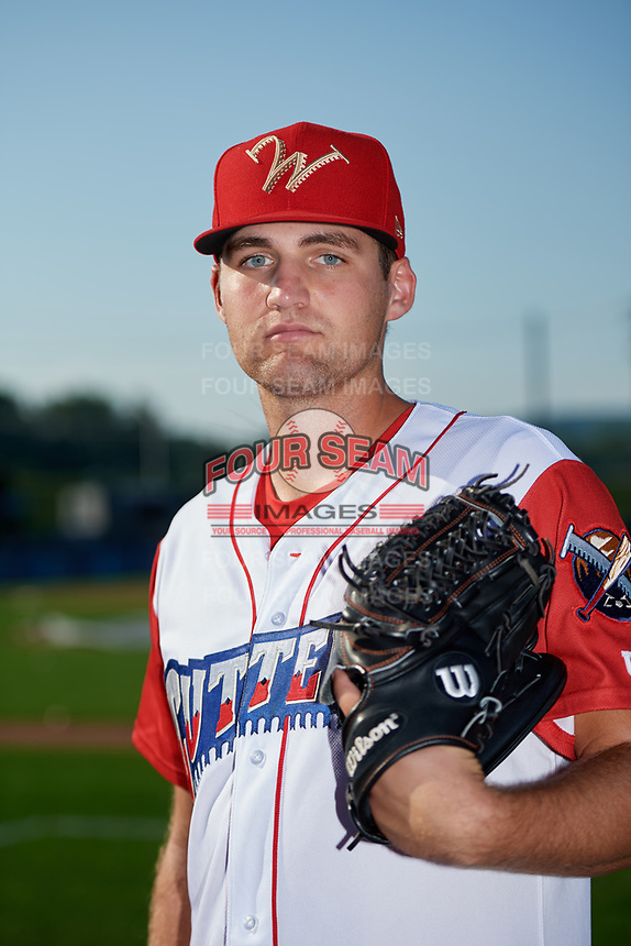 Williamsport Crosscutters pitcher Jack Perkins (9) poses for a photo before a game against the Mahoning Valley Scrappers on August 28, 2018 at BB&T Ballpark in Williamsport, Pennsylvania.  Williamsport defeated Mahoning Valley 8-0.  (Mike Janes/Four Seam Images)