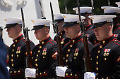 United States Marines look on during a wreath laying ceremony with President Barack Obama at the Tomb of the Unknown Soldier at Arlington National Cemetery, May 26, 2014 in Arlington, Virginia. President Obama returned to Washington Monday morning after a surprise visit to Afghanistan to visit U.S. troops at Bagram Air Field. <br /> Credit: Drew Angerer / Pool via CNP