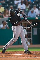 Kannapolis designated hitter Chris Carter (33) breaks his bat in two versus Greensboro at First Horizon Park in Greensboro, NC, Sunday, May 27, 2007.  The Intimidators defeated the Grasshoppers 6-5.