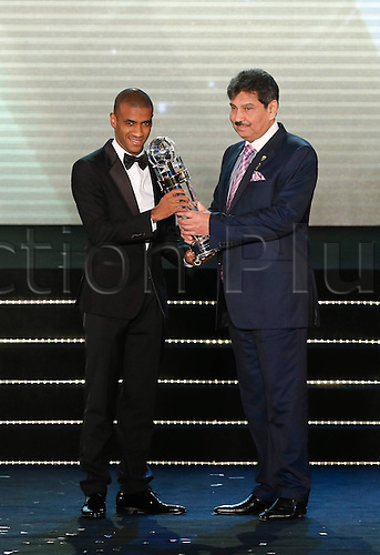 26.11.2013  Kuala Lumpur. Brazilian striker Luiz Guilherme Da Conceicao Silva receives his trophy at the AFC Foreign Player of the Year ceremony in Kuala Lumpur, Malaysia, on Nov. 26, 2013. Luiz Guilherme Da Conceicao Silva, who scored a record 13 goals for Chinas Guangzhou Evergrande in the AFC Champions League triumph,