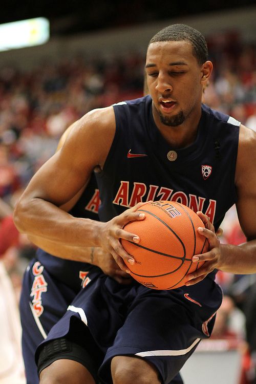 Derrick Williams, University of Arizona forward, grabs one of his 19 rebounds during the Wildcats Pac-10 conference game against Washington State at Friel Court at Beasley Coliseum in Pullman, Washington, on January 22, 2011.  The Wildcats trailed for most of the game but rallied at the end for a 65-63 victory.