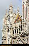 Left Tower and Gable, Mosaic Presentation of Mary at the Temple, Alessandro Franchi 1878, Gothic Statuary, Cathedral of Siena, Santa Maria Assunta, Siena, Italy