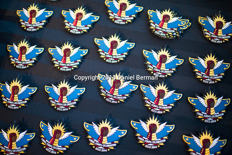 Commemorative patches were seen for sale in the entryway to the Carol Corps Celebration Thursday March 27, 2014 at the Museum of Flight in Seattle. Held the day before Emerald City Comicon kicked off, the event raised funds for Girls Leadership Institute and offered a chance for fans to meet and chat with Captain Marvel writer Kelly Sue DeConnick and Ms. Marvel writer G. Willow Wilson. Photo by Daniel Berman for WIRED.com