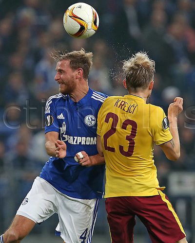 22.10.2015. Gelsenkirchen, Germany. UEFA Europa League football. FC Schalke versus Sparta Prague.  Benedikt Howedes (Schalke) wins the header from Ladislav Krejci (Sparta Prag)