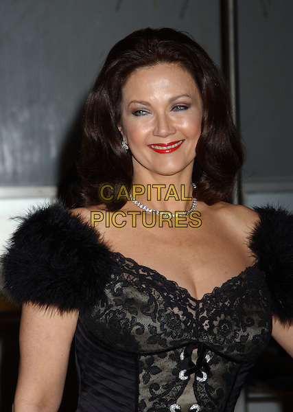 LYNDA CARTER.28th Annual Kennedy Center Honors held at the State Department. Washington D.C.USA, United States.3rd December 2005.Ref:ADM/LF.half length black lace corset top fur trim shoulders red lipstick make-up.www.capitalpictures.com.sales@capitalpictures.com.© Capital Pictures..