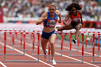 Sally Pearson of Australia and Raven Clay of USA compete in the womenís 100 metres hurdlesduring the Muller Anniversary Games at The London Stadium on 9th July 2017