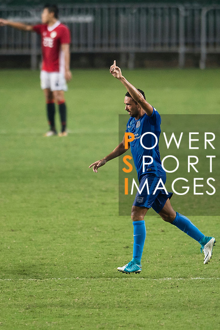 SC Kitchee Midfielder Fernando Augusto (C) celebrating his score during the week three Premier League match between Hong Kong Pegasus and Kitchee at Hong Kong Stadium on September 17, 2017 in Hong Kong, China. Photo by Marcio Rodrigo Machado / Power Sport Images